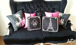 2 Seat Sofa Beautifully Upholstered black Velvet with a