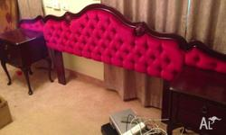 Queen size red velvet and rosewood bedhead with