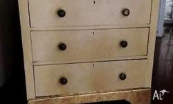 Vintage Shabby Chic Beige and Gold CHEST OF DRAWERS