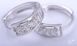 VOGUE 9K GOLD FILLED HOOP CLEAR CZ EARRINGS STONE :