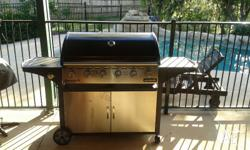6 Burner barbecue with hood and side wok burner,