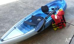 3 years old Voyager Kayak with 2 seats and 2 paddles +
