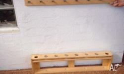 Rod holder, timber, wall mount, will hold rods with
