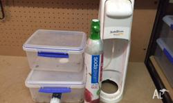 SodaStream plus extra (full) gas cannister plus tubs,