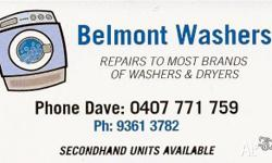 Washing Machine / Dryer Sales & Repairs available. Free