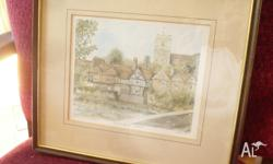 A sweet watercolour of Aylesford village in Kent.
