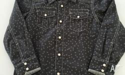 Boys long sleeve button up shirt like new. Charchoal