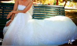 Stunning A-line strapless wedding dress with extra-long