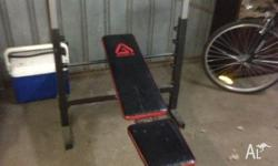 Weight bench with leg lift, two dumbbells and bar. 50kg