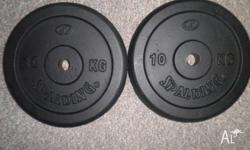 GREAT CONDITION 2 X 10KG PLATES PRICE IS FIRM. PLEASE