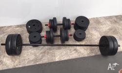 Weight training set including: 2xDumbells 1xBarbell