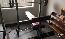 Pro-form. Adjustable. Like new. Weights and barbells to