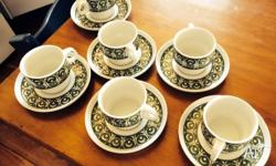 6 x set White with olive green pattern Cups are small,