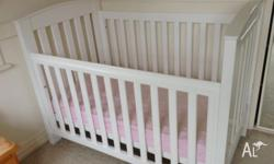 White cot in excellent condition, including spotlessly