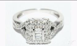 Stunning 9 ct White Gold Diamond Cluster Engagement or