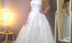 White Wedding dress Brand fit sizes 10 & 12 Lace up