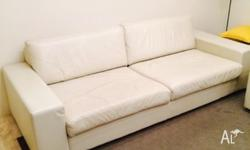 3.5 seater custom depth leather lounge. Very good