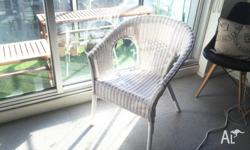 Handwoven White Rattan Bamboo Armchair, Suitable for