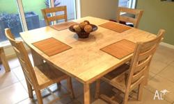 White washed square dining table (150cmx 150cm) and 4