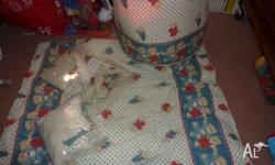 Curtains, doona, sheets, blankets, toy barrell, nappy