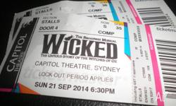 Wicked theartre ticket at Capital Theartre stalls row s