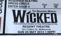 Two tickets to Wicked Regent Theatre Melbourne, Dress