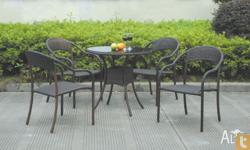 Alum. wicker 5pcs setChair 66x57x83cm (stackable), with