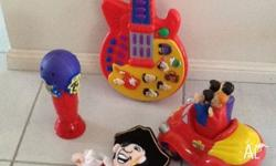 Battery operated Wiggles guitar, car and microphone