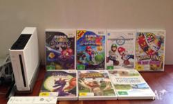 Wii includes 7 games and one remote (Super mario galaxy