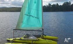 The Windrider 16 is a roto-moulded plastic hull and