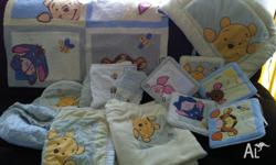Beautiful Winnie the Pooh cot set, for boy or girl.