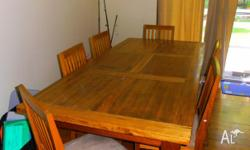 WOODEN DINING TABLE AND 6 chairs GOOD CONDITION