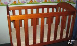 Wooden brown baby cot. VGC minimal scratches. Both