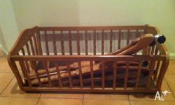 Wooden Baby Cradle, used for 1 baby, good condition.