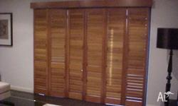 2 X WOODEN BLINDS WITH LOOVES . THEY FOLD IN AND FOLD