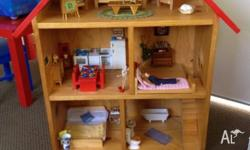 Fantastic wooden doll house with all furniture included