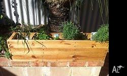 Wooden planter box with herbs Size: 1100 x 450 x 300 h