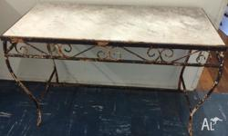 FAB OLD IRON BASED TABLE WITH MARBLE TOP IDEAL FOR