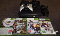 Xbox 360 250gb slim - used 5 games - Fifa 13 + 14 ,