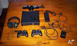 250 GB Xbox 360 slim with kinect sensor. Also includes