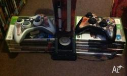 Xbox 360 with all cables,wifi adapter,2 controllers and