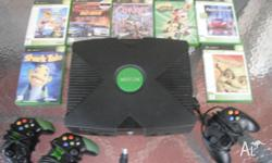 up for sale is my kids xbox console & 7 games 2